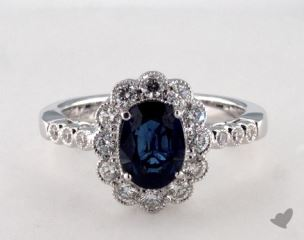 18K White Gold 1.25ct  Oval Shape Blue Sapphire Scallop Halo Ring