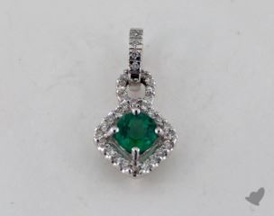 18K White Gold - 0.58ct  - Round - Green Emerald -  Pendant