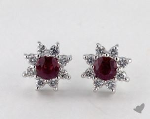 18K White Gold - 0.55tcw  - Round - Ruby Earrings