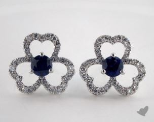 18K White Gold - 0.86tcw  - Round - Blue Sapphire