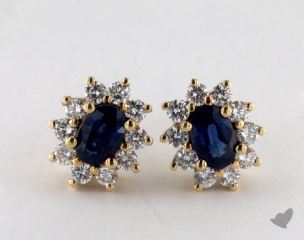 18K Yellow Gold Starburst 1.16tcw  Oval Blue Sapphire and Diamond Earrings.