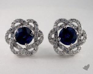 18K White Gold Pave Swirl Halo 2.49tcw Round Blue Sapphire Earrings.