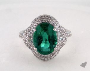 Platinum - 3.65ct  - Oval - Green Emerald