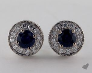 18K White Gold  Diamond Halo Round  Blue Sapphire Earrings.