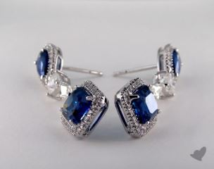 18K White Gold Diamond Halo 7.67tcw Blue Sapphire Earrings.