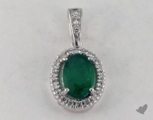 18K White Gold - 0.70ct  - Oval - Green Emerald Pendant