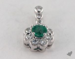 18K White Gold - 0.30ct  - Round - Green Emerald Pendant
