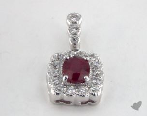 18K White Gold - 0.55ct  - Oval - Ruby Pendant