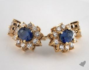 18K Yellow Gold Starburst 1.78tcw  Oval Blue Sapphire and Diamond Earrings.