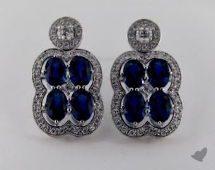 18K White Gold Diamond Halo 5.43tcw Blue Sapphire Earrings.