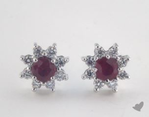18K White Gold - 0.60tcw  - Round - Ruby Earrings