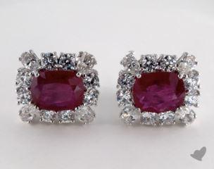 18K White Gold - 0.00tcw  - Cushion - Ruby Earrings