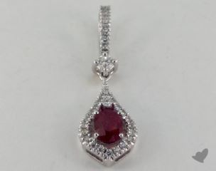 18K White Gold - 0.60ct  - Oval - Ruby Pendant
