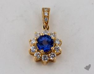 18K Yellow Gold - 0.56ct  - Round - Tanzanite Pendant
