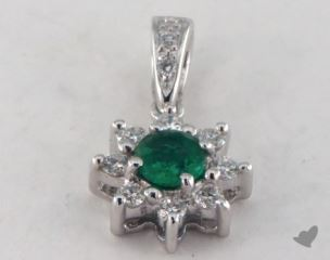 18K White Gold - 0.20ct  - Round - Green Emerald Pendant