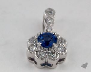 18K White Gold - 0.30ct Round- - Blue Sapphire Pendant