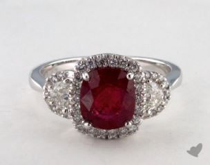 18K White Gold - 1.83ct  - Red