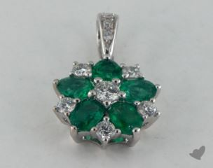 18K White Gold - 0.65ct  - Green Emerald Pendant