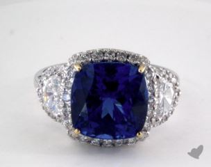 18k two tone - 6.59ct  - Cushion - Tanzanite