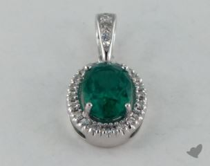 18K White Gold - 1.00ct  - Oval - Green Emerald Pendant
