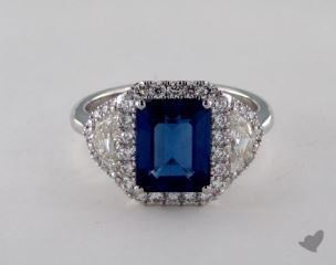 18K White Gold - 2.90ct Cushion- - Blue Sapphire