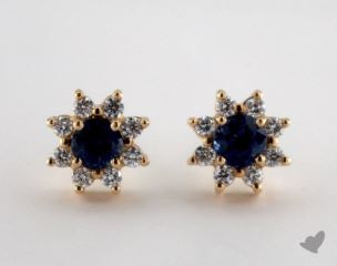 18K Yellow Gold - 0.80tcw Round- - Blue Sapphire Earrings