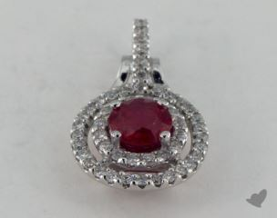 18K White Gold - 0.00ct  - Round - Ruby Pendant