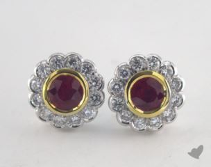 18k two tone - 1.18tcw  - Ruby Earrings