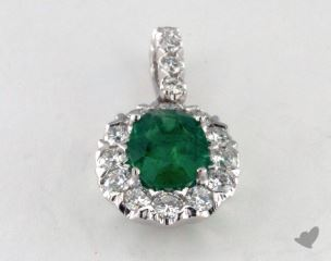 18K White Gold - 1.04ct  - Oval - Green Emerald Pendant