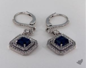 18K White Gold 2.53tcw Leverback Diamond Pave Double Halo Emerald Shaped Blue Sapphire Earrings.