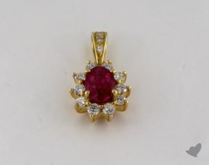 18K Yellow Gold - 0.95ct  - Oval - Ruby Pendant