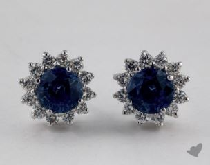 18K White Gold Starburst 1.68tcw  Round Blue Sapphire and Diamond Earrings.