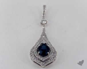 18K White Gold - 1.10ct Oval- - Blue Sapphire Pendant