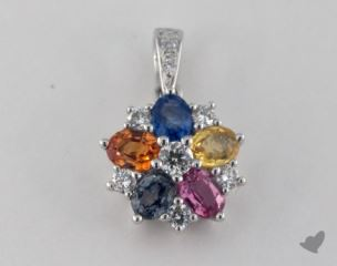 18K White Gold - 1.42ct  - Oval - Multi Color Pendant