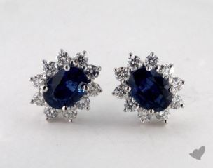 18K White Gold - 0.77tcw Oval- - Blue Sapphire Earrings