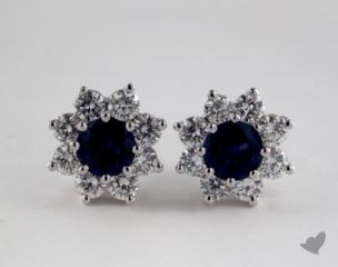 18K White Gold Starburst 0.98tcw Round Blue Sapphire and Diamond Earrings.