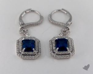 18K White Gold Diamond Pave Double Halo 3.00tcw  Emerald Shaped Blue Sapphire Earrings.