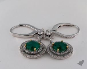 18k Two Tone 2.11tcw Diamond Pave Double Halo Round Green Emerald Earrings.