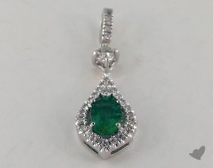 18K White Gold - 0.45ct  - Oval - Green Emerald Pendant
