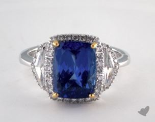 18K Two Tone 3.68ct  Cushion ShapeTanzanite Ring