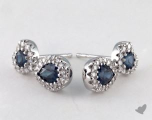 18K White Gold Diamond Halo 1.77tcw Blue Sapphire Earrings.