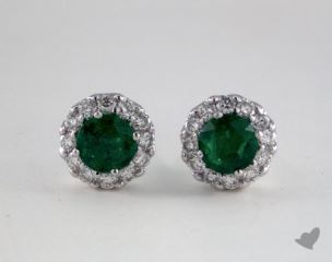 18K White Gold Diamond Halo 0.65tcw Round Shaped Green Emerald Earrings.