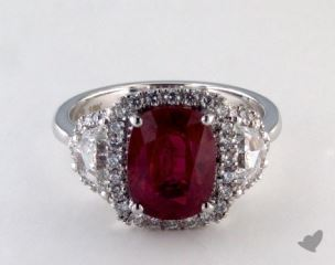 18K White Gold - 3.15ct  - Oval - Ruby