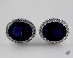 18K White Gold Diamond Halo 2.07tcw Oval Blue Sapphire Earrings.
