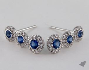 18K White Gold Stationary 0.87tcw Round Blue Sapphire and Diamond Earrings.