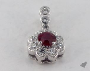 18K White Gold - 0.30ct  - Round - Ruby Pendant