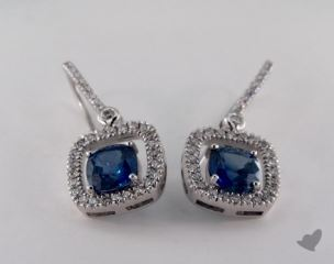 18K White Gold Diamond Halo 2.80tcw  Cushion Shaped  Blue Sapphire Earrings.