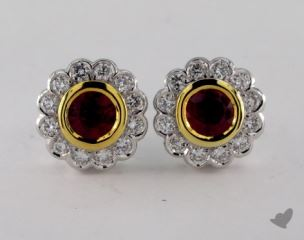 18k Two Tone Diamond Framed 1.05tcw Round  Ruby Earrings.