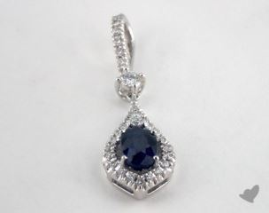 18K White Gold - 0.60ct Oval- - Blue Sapphire Pendant
