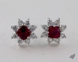 18K White Gold Starburst 0.65tcw Round Ruby and Diamond Earrings.